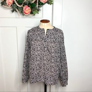 Rebecca Taylor Off White Navy Floral Popover Top